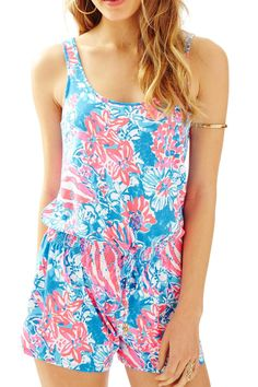 The Tala Romper is our newest knit romper. This bra-friendly tank style romper is ideal for vacation. From over your suit to out about all day, this is a versatile and easy style you'll be reaching for all season long. Tank Top Style Knit Romper. Rayon Spandex Jersey. Hand Wash Cold. Imported.   Tala Romper by Lilly Pulitzer. Clothing - Jumpsuits & Rompers - Rompers Sandestin Golf and Beach Resort, Florida