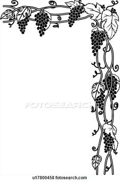 Clip Art of Grape Vines - Search Clipart, Illustration Posters, Drawings, and EPS Vector Graphics Images - Grape Drawing, Vine Drawing, Stencil Patterns, Mosaic Patterns, Wine Leaves, Printable Lined Paper, Illustrations Vintage, Vintage Logo, Doodle Tattoo
