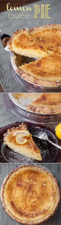 Lemon Brulee Pie - Imagine combining the best parts of lemon meringue pie and creme brulee. The result would be this mouthwatering Lemon Brulee Pie - a perfect dessert. Lemon Desserts, Köstliche Desserts, Lemon Recipes, Sweet Recipes, Delicious Desserts, Dessert Recipes, Pie Recipes, Just Pies, Lemon Meringue Pie