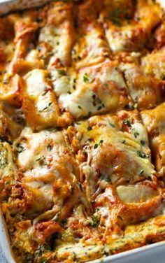 Skinny Spinach Lasagna #lasagna #comfortfood #healthy