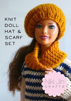 Knit Trendy Accessories for a Fashion Doll – Knitting There are lots of patterns out there for clothes and accessories for fashion (aka Barbie) dolls, but I don't think I've ever seen any quite like these. Niki Jin Crafts shared a really c… Barbie Outfits, Barbie Clothes Patterns, Crochet Barbie Clothes, Clothing Patterns, Barbie Kleidungsmuster, Free Barbie, Barbie House, Knit Doll Hat, Knitted Dolls