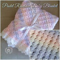 Crochet Pastel Rainbow Baby Blanket  Corner to corner pattern with stepped…
