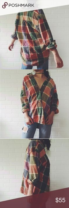 🆕 Oversized Rainbow Flannel Oversized Rainbow Flannel. Omg the fit of this shirt is absolutely perfect. I've never felt so sexy in a large oversized button up and this one is especially cool with its rainbow palette. Wear your hair in a low messy bun with some boyfriend jeans! #flannel #plaid #rainbow #top one size will fit all! No brand tags Topshop Tops Button Down Shirts