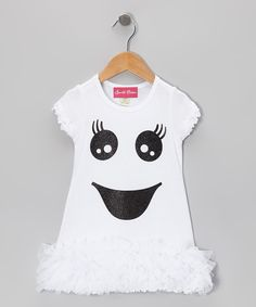 Take a look at this White Sparkle Ghost Ruffle Dress - Infant, Toddler & Girls on zulily today! Cute idea for white tshirt