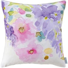 Bluebellgray Wisteria Cushion - 45x45cm ($100) ❤ liked on Polyvore featuring home, home decor, throw pillows, purple, bluebellgray, linen throw pillows, floral home decor, purple accent pillows and floral throw pillows