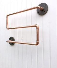 Towel Bar Towel Rack, Industrial Copper Pipe Bathroom accessories Steampunk decor, Repurposed Pipe Designs, Bathroom Decor, Towel Rod, Hand Towel holder, Industrial Copper Design, Loft Style Living, Modern Bathroom Designs, Man Cave Bathroom fixtures  This Listing is for an industrial designed triple tier towel bar, an original design by Mac & Lexie, LLC. Here Ive used 1/2 Copper pipes, fittings and Black Steel Flanges to create an Industrial Modern Towel Rack, it can be used in your...