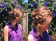 Double crown braid for summer! Braid hair into two low Dutch braids and then pin up with bobby pins. Pull braids loose and hairspray.