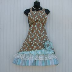Brown and Teal Apron Ladies Ruffled Apron with by KozyKitchens