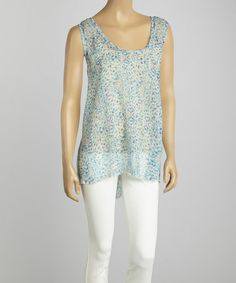 Another great find on #zulily! White & Blue Abstract Dot Swing Top #zulilyfinds