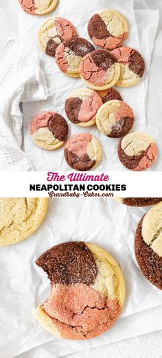 These Neapolitan Cookies are chewy, buttery sugar cookies that are naturally flavored with fruity strawberry, creamy vanilla and rich chocolate! These cookies are not only stunning but they're soft, sweet and oh-so-fun! #neapolitan #cookies #sugarcookies #strawberry #chocolate #vanilla Delicious Cookie Recipes, Baking Recipes, Yummy Food, Easy No Bake Desserts, Dessert Recipes, Buttery Sugar Cookies, Homemade Snickers, Vegetarian Chocolate, Something Sweet