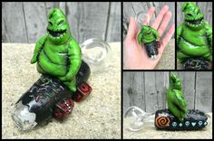 Oogie Boogie Pipe by DeMatteoArt on DeviantArt Cool Glass Pipes, Glass Pipes And Bongs, Cool Pipes, Glass Smoking Pipes, Glass Bongs, Blown Glass Pipes, Hand Blown Glass, Cool Bongs, Pipes And Bongs