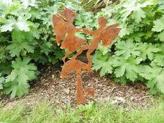 Rusty Fairy & Mushroom / Fairy Garden Art / Rusty Metal Garden Art / Fairy Gift / Fairy Silhouette / Fairy Garden / Garden Decor / Fantasy by RustyRoosterMetalArt on Etsy
