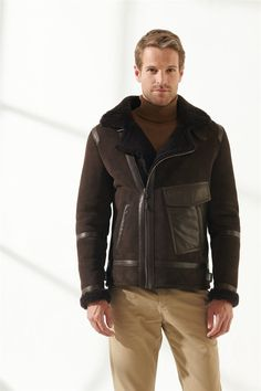 AGUSTO Men Aviator Brown Shearling Jacket Black Noble   Luxury Shearling Black Shearling Jacket, Shearling Coat, Leather Jacket, Pocket Detail, Calf Leather, Zip Ups, Men Casual, Pure Products, Brown