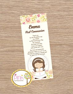 First Communion Favor Cards / Bookmark / by PinkCajasyTarjetas First Communion Favors, First Holy Communion, Baptism Invitations, Card Stock, Prayers, Diy Crafts, Etsy, Prints, Snoopy