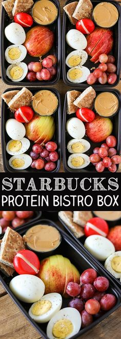One of my favorite healthier on the go lunch or breakfast ideas is a Starbucks Protein Bistro Box. They recently updated it with even more protein by adding an extra hard boiled egg. My DIY version of Starbucks Protein Bistro Box is incredibly easy to mak Lunch Snacks, Lunch Recipes, Healthy Recipes, Easy Recipes, Protein Recipes, Beef Recipes, Cheap Recipes, Supper Recipes, Egg Dinner Recipes