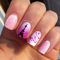 Don't worry if you are a beginner and have no idea about the nail designs. These pink nail art designs for beginners will help you get ready for your date Fabulous Nails, Gorgeous Nails, Pretty Nails, Nail Polish Designs, Cute Nail Designs, Pink Nail Art, Pink Nails, Nail Art Inspiration, Paris Nails