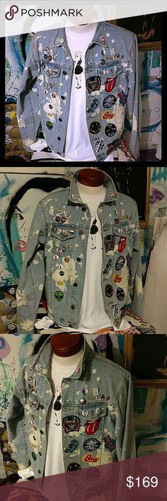 Mens XL Denim Jean Jacket Battle Jacket Vest Punk Awesome one of a kind brand new size XL mens Rock punk goth pop culture denim Jean battle jacket.  This item is brand new not vintage from the 80s.   Has rocknroll embroidered patches, hip hop pins, and pop culture brooches that adorn this high quality bleach dyed style men's XL denim jeans jacket. underground nyc streetwear Jackets & Coats Vests