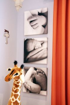 pictures hanging in room Might be a great idea to have dad take the photos using some of the newborn photo tips and then mount and hang them in the nursery.