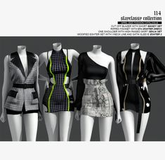 Kpop Fashion Outfits, Stage Outfits, Edgy Outfits, Dance Outfits, Girl Outfits, Cute Outfits, Sims 4 Mods Clothes, Sims 4 Clothing, Mode Emo