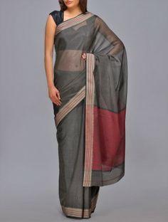 Red-Grey Color Block Maheshwari Saree