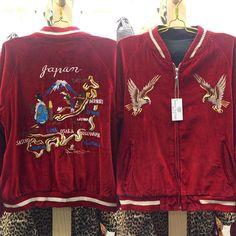 Original 1960s Sukajan Jacket Red Velvet Softness With Japan Embroidered Back And Twin Eagles Front Plain Souvenir Jacket Black Bomber Vintage Instagram