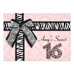 Pink Damask Zebra bow  Sweet 16 Birthday Personalized Invite