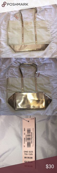 Victoria's Secret Gold Tote Beautiful Victoria's Secret Gold Tote. Brand new, never worn. Very large roomy tote. Sturdy handles. Victoria's Secret Bags Totes
