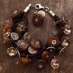 Baltic amber sterling silver bracelet Swarovski by ewalompe