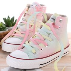 Cute colorful hand-painted canvas shoes