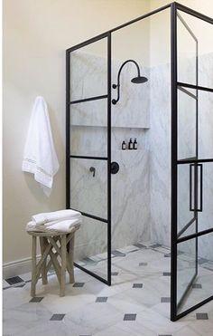 Steel shower door