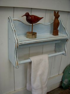 Wood Shelf Wooden Towel Quilt Shelf Handmade by honeystreasures