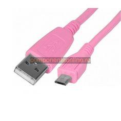 Cablu USB A tata - micro USB tata, roz, 1m - 171898