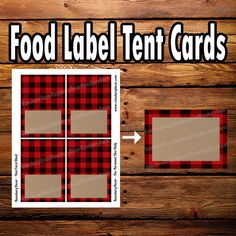 Buffalo Plaid Tent Card - Food Tent - Lumberjack Theme - Printable Decor - Food Label - Digital Download - Woodland - Forest - Flannel by RansburyDecor