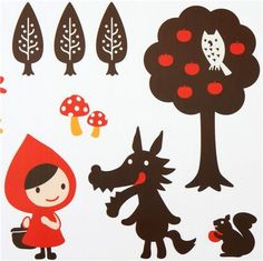 cute Little Red Riding Hood wall sticker wolf Otogicco