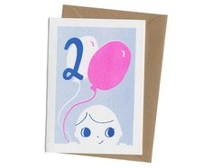 2nd Birthday Card - Two - Unisex Blue / Pink - Balloons - Risograph