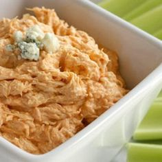 Skinny Buffalo Chicken Dip- I use 1 pkg lowfat cream cheese, 4oz light sour cream, 3/4 or 1 cup fat free ranch, 6 oz buffalo sauce, and 4 shredded cooked chicken breasts (30 min at 350F), melt together then pour in oven safe dish, sprinkle cheddar, put back in oven for 30 min at 325F.