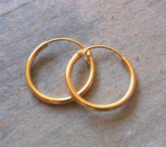Mens Gold 14mm Hoop Earrings by WRCDesigns on Etsy