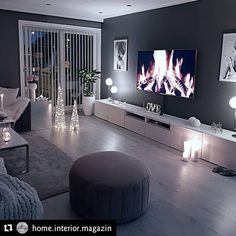 home decor Cozy living room dark wall gray taupe black light sofa wooden floor Dark Walls Living Room, Living Room Decor Cozy, Living Room Modern, Home Living Room, Apartment Living, Interior Design Living Room, Living Room Designs, Dark Wooden Floor Living Room, Design Bedroom