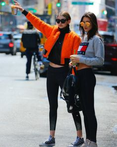 Spotted walking down the streets with her Tommy Jeans shirt , the sisters Hadid @Bellahadid @GigiHadid
