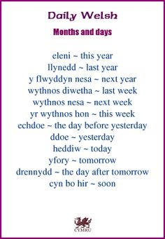 Daily Welsh:                                                                                                                                                     More