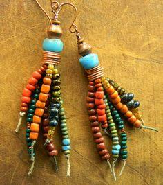 Trade Bead Earrings Southwestern Tribal Boho OOAK von ChrysalisToo
