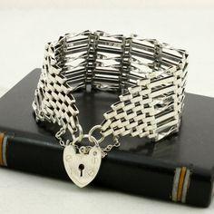 Vintage Wide Gate Bracelet, English Sterling Silver, 8 Bar Links, Heart Padlock Clasp, London 1977
