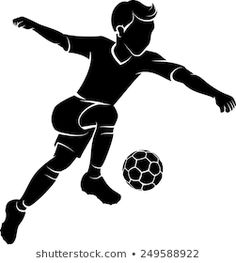 Silhouette of a boy kicking a soccer ball or football. Soccer Theme, Soccer Boys, Soccer Party, Soccer Stars, Football Soccer, Soccer Silhouette, Girl Silhouette, Soccer Inspiration, Bible Qoutes