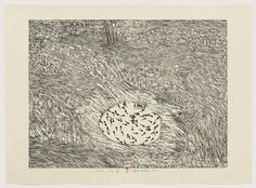 """Dry Pond from Series of Repetitions  Xu Bing (Chinese, born 1955)    1987. One from a series of ten woodcuts, composition: 21 9/16 x 28 11/16"""" (54.8 x 72.8 cm); sheet: 26 3/16 x 35 5/8"""" (66.5 x 90.5 cm). Riva Castleman Endowment Fund. © 2012 Xu Bing"""