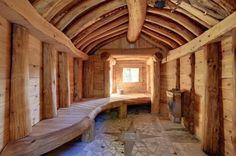 Outdoor sauna interior