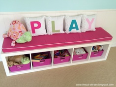 playroom idea - pillow on top of shelf for boys it can be blue or red or whatever color u want