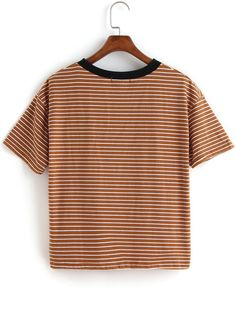 Contrast Collar Striped Loose T-shirt -SheIn(Sheinside) Mobile Site
