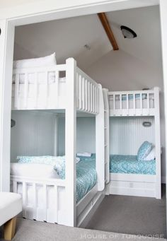 House of Turquoise: Fish Tales - Seabrook, Washington bunk room Corner Bunk Beds, Bunk Beds Small Room, Bunk Bed Rooms, Cool Bunk Beds, Bunk Beds With Stairs, Kids Bunk Beds, Loft Beds, Unique Bunk Beds, Custom Bunk Beds