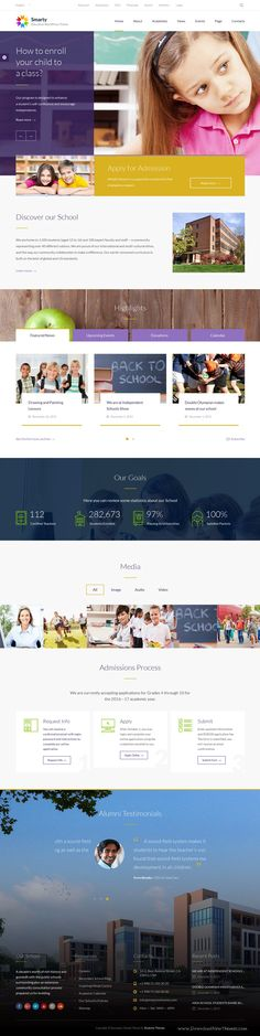 Smarty is Ultimate Education Theme for your Elementary or Secondary School, Center, College or University Now! College Website, University Website, Web Layout, Layout Design, App Design, Logo Design, Design Ideas, Words For Teacher, Corporate Website Design