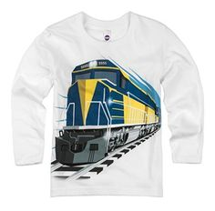 Shirts That Go Little Boys' Long Sleeve Diesel Train T-Shirt